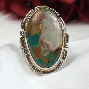 Vintage Jewelry - B. Shorty Navajo Boulder Turquoise Sterling Ring